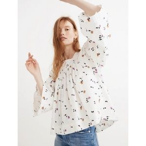 Madewell Floral Square Neck Top